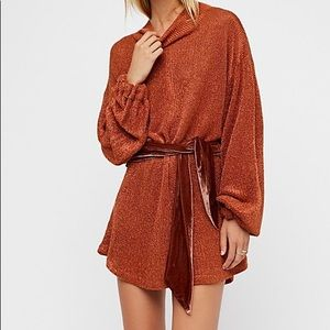 Free People Metallic Burnt Orange Sweater Dress